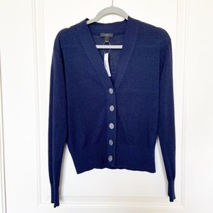 J CREW • Navy Button Front V Neck Cardigan NWT